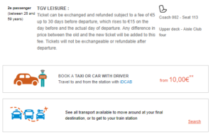 SNCF e-ticket details