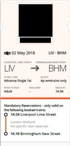 West Midlands Railway ticket PDF