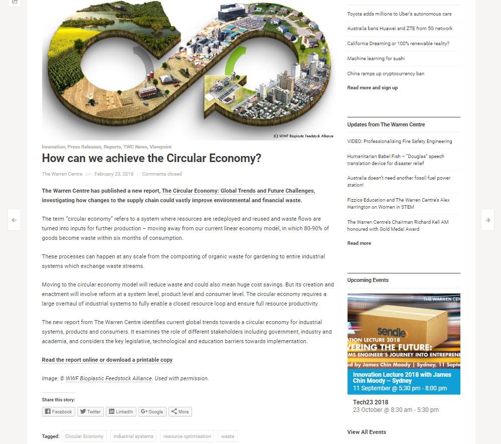 Warren Centre article page screenshot