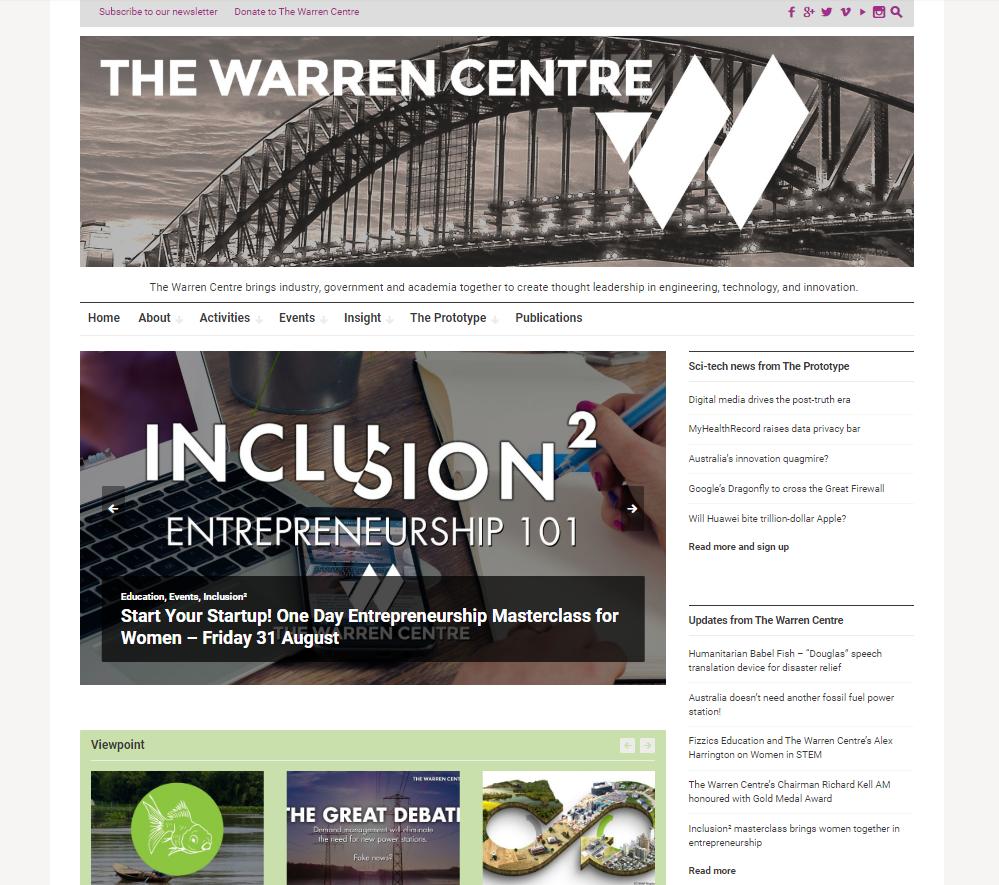 Warren Centre homepage screenshot
